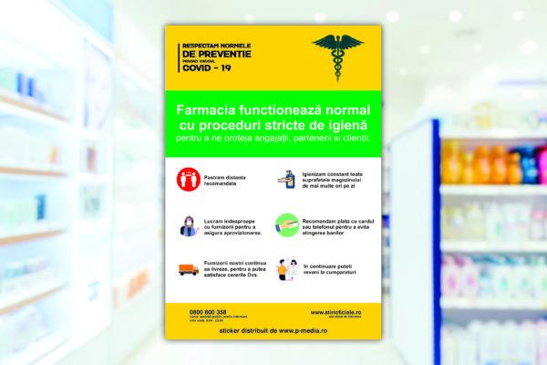 Autocolant geam preventie Covid - 19 farmacie