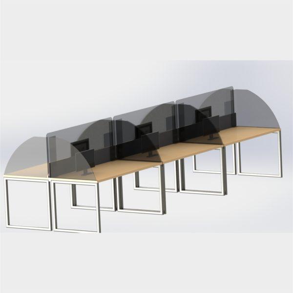Protectie plexiglas pentru birouri de timp insula